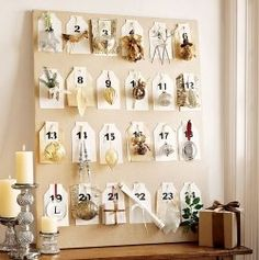 Christmas Advent Calendars hang an ornament each day cute! This would be cute to do on a mini Christmas tree.