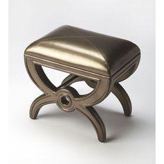 Moderne Cosmopolitan Leather Vanity Stool
