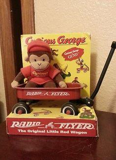 1998 Gund Curious George Monkey Radio Flyer Wagon SET Red Wagon Party, Radio Flyer Wagons, Boy Birthday Parties, Birthday Ideas, Curious George Party, Little Red Wagon, Legendary Creature, Childrens Books, Playroom