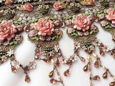 Michal Negrin 8 inches tall Rose Choker Necklace by GraciousHomes, $750.00