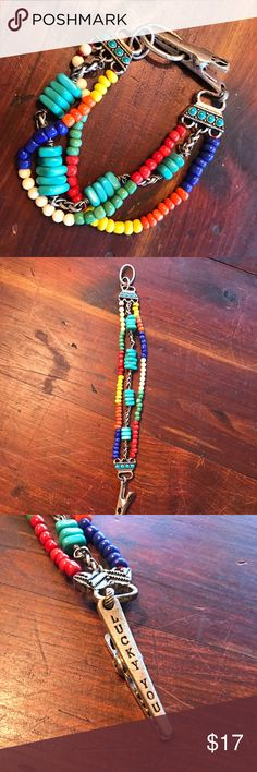 🍀Lucky Brand seed bead colorful bracelet🍀 🍀Lucky Brand seed bead colorful bracelet🍀 Silver tone. Unique clasp. Southwest vibe✌🏼 Lucky Brand Jewelry Bracelets
