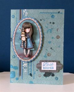 'Best Wishes' handmade greeting card featuring Santoro's Gorjuss.