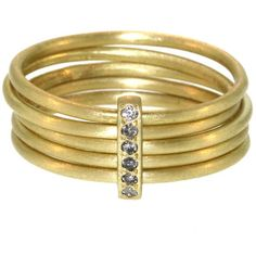 Pre-owned Five Part Diamond Gold Bar Ring ($2,000) ❤ liked on Polyvore