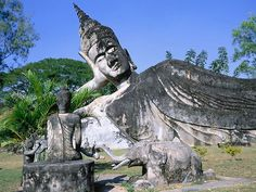 Buddha Park, Vientiane, Laos, also known as Xieng Khuan is a sculpture ...