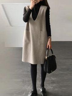 60 Fashion, Winter Fashion Outfits, Minimal Fashion, Women's Fashion Dresses, Casual Dresses, Casual Outfits, Womens Fashion, Iranian Women Fashion, Tent Dress