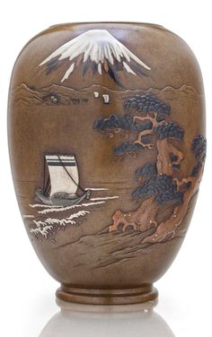 A soft-metal-inlaid bronze vase - MEIJI PERIOD (LATE 19TH CENTURY), SIGNED IIDA SEI. | Christie's