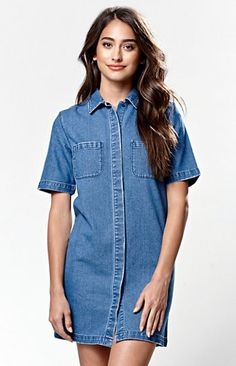 Kendall and Kylie Short Sleeve Denim Dress at PacSun.com