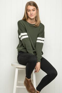 Love this for it's green color, long and easy styling with the stripes on the sleeve for visual interest. My kind of easy, fun style! Brandy ♥ Melville | Veena Sweater