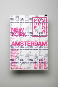 Bold typography, bright colour AND a handcrafted one-of-a-kind soul? Now that is the recipe for great print design. I love this simple but striking flyer design by Amsterdam studio for The Amsterdam New York Pop Up Show. Poster Design, Graphic Design Posters, Graphic Design Typography, Graphic Design Illustration, Flyer Design, Print Design, Design Color, Layout Design, Bold Typography
