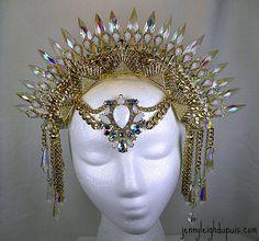 Headdress Prism Sun Ray Tribal Fusion by JennyLeighDuPuis on Etsy Gothic Corset, Gothic Lolita, Gothic Steampunk, Victorian Gothic, Steampunk Clothing, Steampunk Fashion, Emo Fashion, Gothic Fashion, Headdress