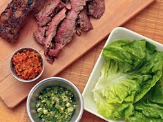 Momofuku hanger steak ssam. Hanger steak is a bit difficult to find, so when we made it, we used flank steak. It was still really delicious.