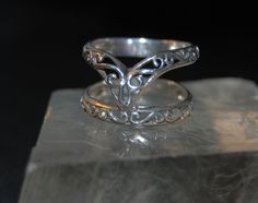 Filigree Double Wishbone Ring Guard Wrap Stackable Stacking Chevron Band #BKC-RNGNST18 by BadKittyCrafts on Etsy