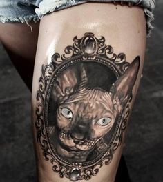 Cat in Frame Tattoo - Very well done, but not liking the one ear in one ear out thing