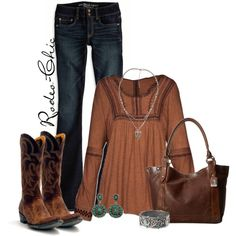 by rodeo-chic on Polyvore, Cowboy boots by @oldgringoboots, Bracelet by @mtsilversmiths available @sheplers; Bag by Frye @thefryecompany