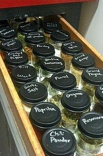 Turn baby food jars into a spice rack with chalkboard paint.