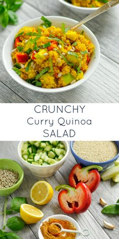 Crunch Curry Quinoa Salad. A healthy, easy recipe pefect for lunch or as a side. Naturally gluten-free and dairy-free.