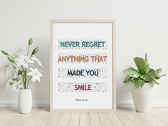 Never regret anything that made you smile - Mark Twain - Quote, Instant Download, Printable, Wall Art by PinkPebblePrints on Etsy Your Smile, Make You Smile, Family Tree Print, Mark Twain Quotes, Never Regret, Personalised Prints, Color Quotes, Online Print Shop, Printable Quotes