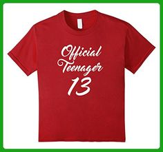 Kids OFFICIAL TEENAGER 13 Princess Diva Birthday Celebration Tee 10 Cranberry - Birthday shirts (*Amazon Partner-Link)