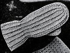 Women's Two-Needle Mittens Pattern #622