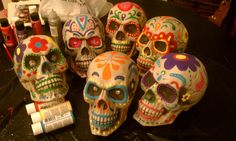 Dia de los muertos skulls for HMNS Museum Store display