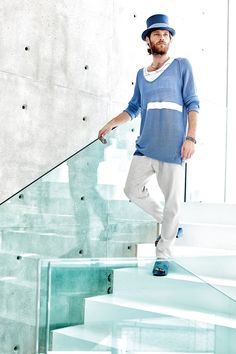 #danieladallavalle #mancollection #riccardocavaletti #ss16 #jersey #blue #white #tshirt #grey #pants #clogs #hat #cylinder #bracelets #necklaces