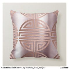 Pink Metallic Satin Look Chinese Rose Gold Copper Throw Pillow