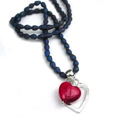 Blue Bead Heart Necklace