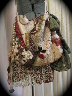 Romantic Gypsy Purse shabby bohemian shoulder bag by GrandmaDede, $122.00
