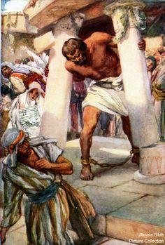 Samson Between The Pillars. Bible Photos, Bible Pictures, Jesus Pictures, Bible Crafts, Bible Art, Catholic Art, Religious Art, Bible Heroes, Bible Illustrations
