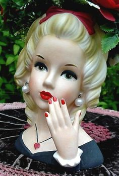 Lady Head Vase - Red Heart Necklace & Red Bow in Hair