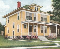 """Colors for Foursquare Houses: A 1917 foursquare house clad in yellow siding, with pale trim and a green roof. This is a more traditional """"Colonial Revival"""" or """"Edwardian Classical"""" style color scheme, as a light antidote to the dark Victorian schemes of 20 years earlier."""