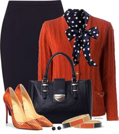 Navy Polka Dots and Orange Cardigan Work Outfit Outfitspedia