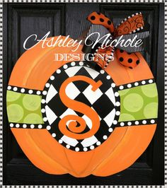 Personalized Fall Pumpkin Door Hanger Door by DesignsAshleyNichole