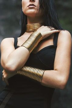 The Gold Gladiator Cuff is a stunning piece of arm jewelry. Pair this African br… The Gold Gladiator Cuff is 14k Gold Necklace, Leaf Necklace, Sterling Silver Bracelets, Silver Earrings, African Bracelets, African Necklace, African Jewelry, Harry Winston, Diamond Bracelets
