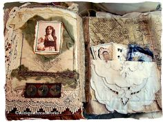 altered book ... vintage doilies