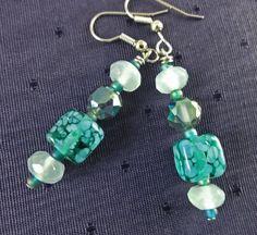 Sixties Style Earrings of Varying Greens by GemstoneJewelrybyVal, $16.00
