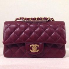 Chanel Mini Flap Bag in Burgundy as seen on Gigi Hadid