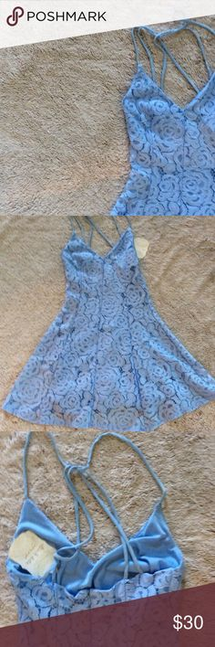 NWT Altard State Dusty Blue Lace Dress S Altard Dress is gorgeous skater style dress S.  Fully Lined.  Dusty Blue. Altar'd State Dresses