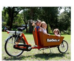 I would love to buy one of these Dutch Bakfiets bikes.  I could bring the kids to school this way or get my groceries.