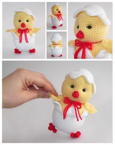 Crochet Baby Chick pic only Baby Knitting Patterns, Easter Crochet Patterns, Crochet Birds, Crochet Animals, Crochet Crafts, Crochet Dolls, Crochet Projects, Crochet Baby Costumes, Crochet Baby Clothes