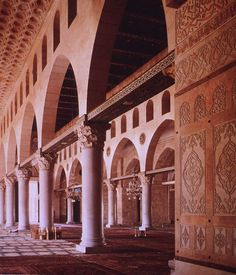 Arquitectura Omeya. Interior de la Mezquita de al-Aqsa. Siglo VIII.
