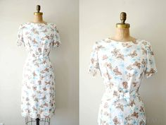 vintage 1960s dress - 60s BUTTERFLY dress / white summer floral. via Etsy.