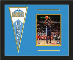 One framed 8 x 10 inch Denver Nuggets photo of Ty Lawson with a Denver Nuggets mini felt banner, double matted in team colors to 20 x 16 inches.  The lines show the bottom mat color.  (Pennant design subject to change)   $79.99 @ ArtandMore.com