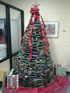 Chadwick Library Christmas tree of books...so cool!!