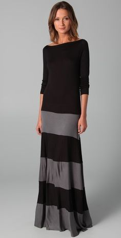 A super chic way to take the floor length trend into the fall.  Karina Grimaldi Biscot Long Sleeve Maxi Dress, $196.