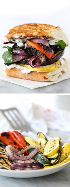 Grilled Vegetable Sandwich with Herbed Ricotta -- use quark Gourmet Sandwiches, Gourmet Burger, Grilled Vegetable Sandwich, Grilled Vegetables, Veggies, I Love Food, Good Food, Yummy Food, Tasty