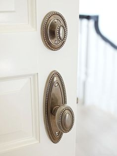 Update Doorknobs - Reinvent your entry or interior doors with antiqued brass, crystal, porcelain, or colored-glass doorknobs.