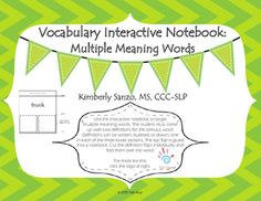 Use this interactive notebook to target multiple meaning words by having the student write, bullet, or draw TWO different meanings for the stimulus word.