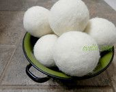 Ovella Wool Dryer Balls: The Crema Collection - Set of Three (3) No dyes, ivory, reduces static and dry time, natural, classic, pretty - pinned by pin4etsy.com