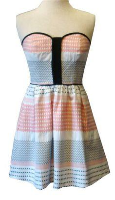 Ella Moss Coral, Black & Ivory Strapless Dress With Black Binding & Pockets